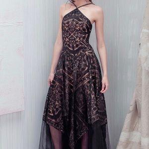 Tadashi Shoji Black and Nude Lace Dress Sz 00